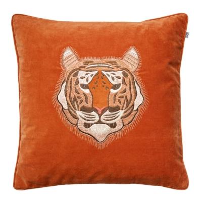 Bilde av Embroidered Tiger Velvet putetrekk M, orange
