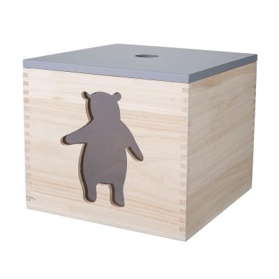 Bilde av Bear oppbevaringsboks med lokk, tre/grå