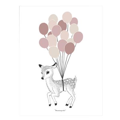Bilde av Dear Deer poster 30x40, rosa