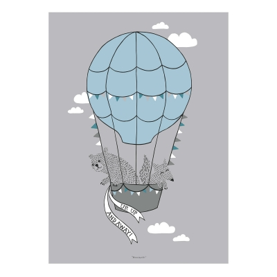 Bilde av Hot Air Balloon Friends poster 50x70, grå