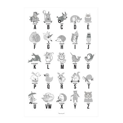 Bilde av Animal Alphabet poster 50x70, grå
