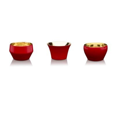 Bilde av Kin lyslykt 3-pakning, rød/messing