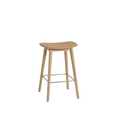 Bilde av Fiber Wood bar stool, ochre/eik