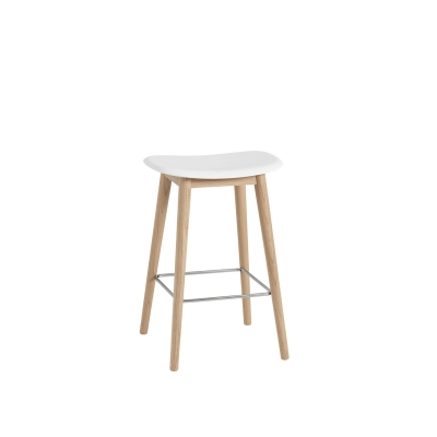 Bilde av Fiber Wood bar stool, naturell hvit/eik