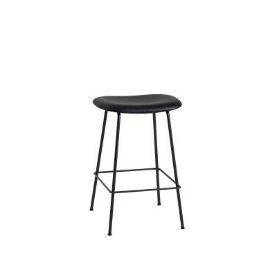 Bilde av Fiber Tube bar stool, svart lær/svart