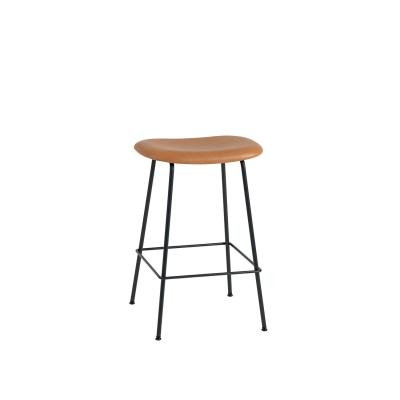 Bilde av Fiber Tube bar stool, konjakk lær/svart