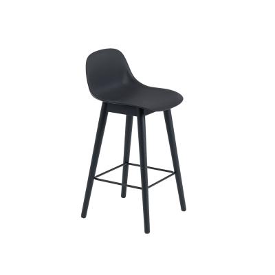 Bilde av Fiber Wood bar stool w.back, svart