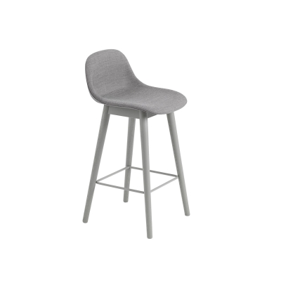 Bilde av Fiber Wood bar stool w.back, grå/remix133