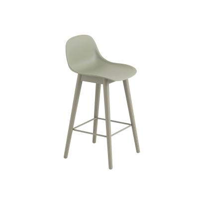 Bilde av Fiber Wood bar stool w.back, dusty green