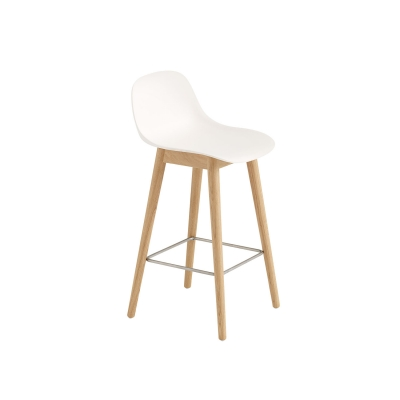 Bilde av Fiber Wood bar stool w.back, naturell hvit/eik