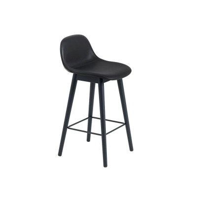 Bilde av Fiber Wood bar stool w.back, svart lær/svart