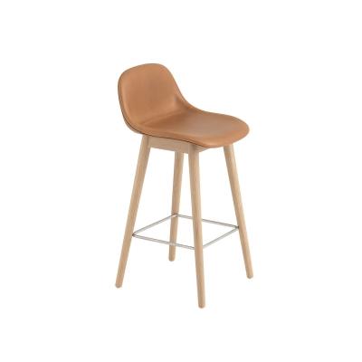 Bilde av Fiber Wood bar stool w.back, konjakk lær/eik