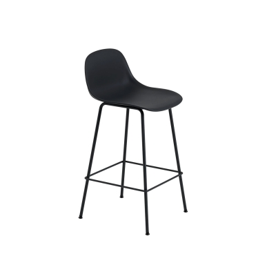 Bilde av Fiber Tube bar stool w.back, svart