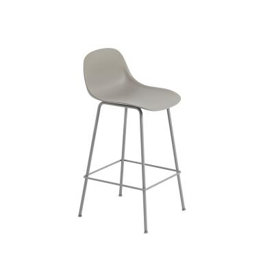 Bilde av Fiber Tube bar stool w.back, grå