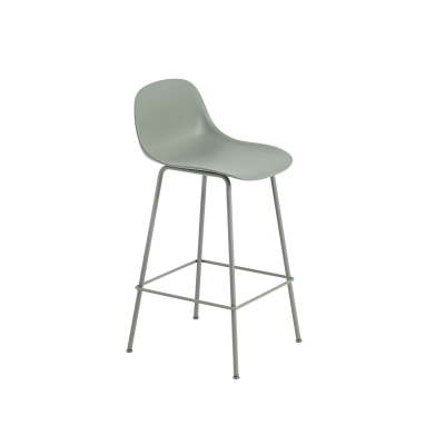 Bilde av Fiber Tube bar stool w.back, dusty green