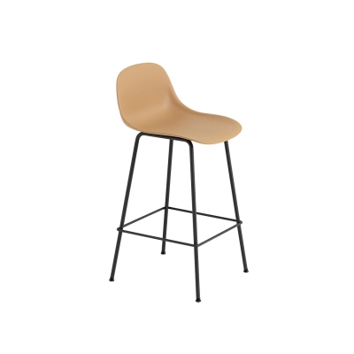 Bilde av Fiber Tube bar stool w.back, ochre/svart