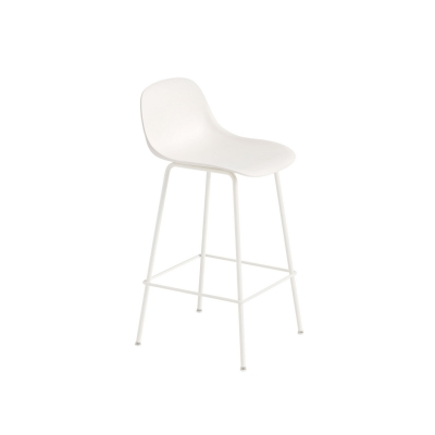 Bilde av Fiber Tube bar stool w.back, naturell hvit/hvit