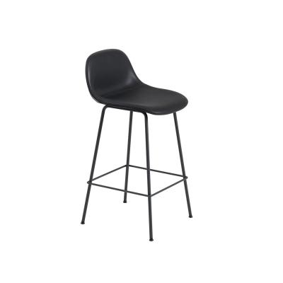 Bilde av Fiber Tube bar stool w.back, svart lær/svart