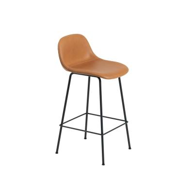 Bilde av Fiber Tube bar stool w.back, konjakk lær/svart