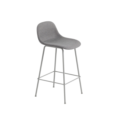 Bilde av Fiber Tube bar stool w.back, grå/remix133