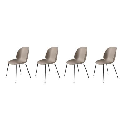 Bilde av Beetle stol 4-pakning, svart/beige