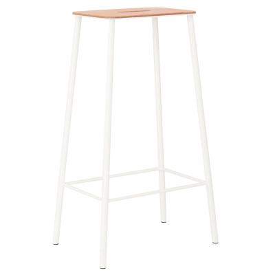 Bilde av Adam stool 76 barstol, skinn/matt hvit