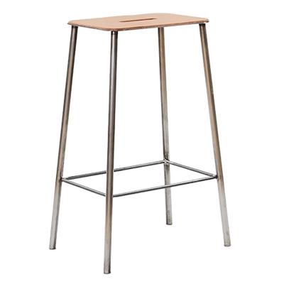 Bilde av Adam Stool 65 barstol, skinn/rått stål
