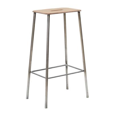 Bilde av Adam stool 76 barstol, skinn/rått stål