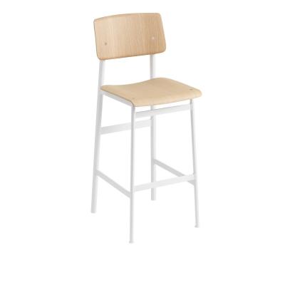 Bilde av Loft barstol h75, hvit/eik