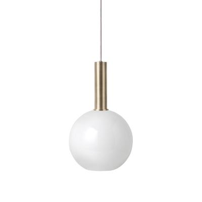 Bilde av Opal Sphere pendel høy, hvit/messing