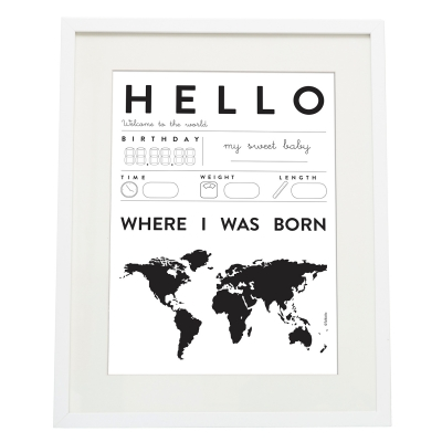 Bilde av Hello Baby poster A3, svart/vit