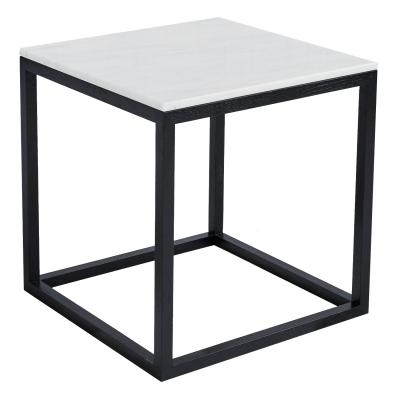 The Cube sidebord M, hvit marmor/svart