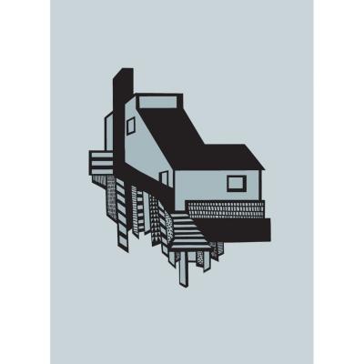 A House poster A4, svart/blå