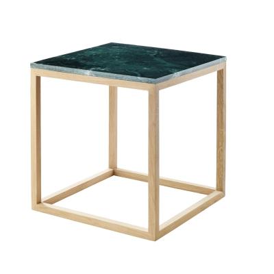 The Cube sidebord S, grønn marmor/eik